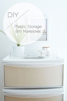 DIY Plastic Storage Bin Makeover on Stylishly Tidy Life Plastic Storage Drawers, Diy Drawers, Decorating Plastic Drawers, Decorate Plastic Bins, Plastic Craft, Laundry Room Storage, Craft Room Storage, Craft Rooms, Kitchen Storage