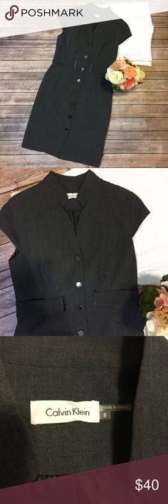 "Calvin Klein | Heather Gray Dress Size 6 Excellent used condition! All buttons are in tact and there are no holes or stains. It also has pockets! Smoke free home. Approximate measurements (taken with garment lying flat)  pit to pit- 15""   Length: 36"". Calvin Klein Dresses"