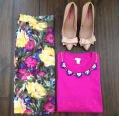 #Ootd Floral Pants & Pop of Color Shirt