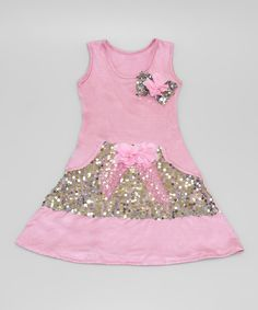 Look what I found on #zulily! Pink & Silver Sequin Pocket Dress - Toddler & Girls by Mia Belle Baby #zulilyfinds