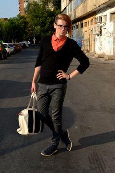 Zara Blue Bag, Deichmann Dark Blue Leather Shoes, H Slim Fit Chino Jeans, Black Blazer, Topman Red Shirt, Glasses