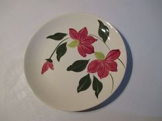 Blue Ridge Pottery Chartreuse Burgundy Floral Dinner Plate