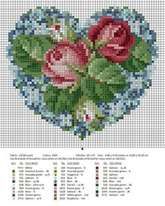 Roses in my Heart (free cross stitch chart). Presumably you could use this for beadwork? Free Cross Stitch Charts, Cross Stitch Heart, Cross Stitch Flowers, Counted Cross Stitch Patterns, Cross Stitch Designs, Cross Stitch Embroidery, Ribbon Embroidery, Embroidery Patterns, Diy Broderie