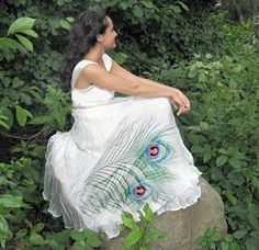 Silk hand painted dress PEACOCK FEATHER by ChicComplement on Etsy, $350.00