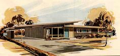 beautiful midcentury house rendering