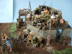 G.I. rest and relax on FOB, Vietnam 1968, 1/35 scale by ademodelart: