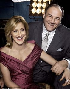 'Greatest love story': Edie Falco paid tribute to her 'kind and generous' on-screen Sopranos husband James Gandolfini after his sudden death on Wednesday from a suspected heart attack, pictured together in 2007