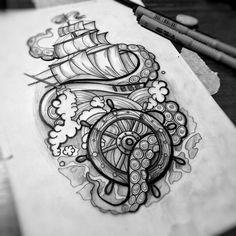 Tattoo tattoo ideas tattoos, tattoo designs 및 tattoo drawings. Octopus Tattoo Sleeve, Octopus Tattoos, Sleeve Tattoos, Future Tattoos, New Tattoos, Body Art Tattoos, Ship Tattoos, Ankle Tattoos, Arrow Tattoos