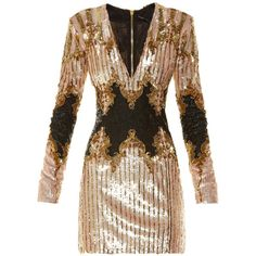 Balmain V-neck sequin-embellished dress (51.573.210 IDR) ❤ liked on Polyvore featuring dresses, gowns, balmain, pink multi, long sleeve sequin gown, pink dress, pink gown, pink sequin gown and short sequin dress