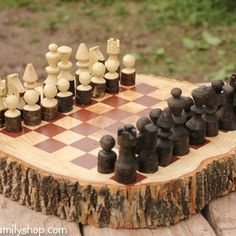 Rustic Wood Projects Design Wood Log Projects Custom Made Rustic Wood Log Chess Set Log Woodworking Projects Wood Log Rustic Reclaimed Wood Projects Wood Log Crafts, Wooden Chess Board, Chess Boards, Log Decor, Log Projects, Chess Table, Wood Logs, Chess Pieces, Wood Turning