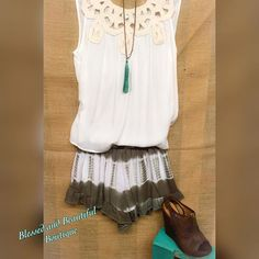 These gorgeous Tie Dye Olive Shorts have a nice sophisticated spin on them with the ruffled hemline and elastic waistline. Paired with our our New Dark Brown Peep Toe Wedge #tiedye #peeptoe #spring #blessedandbeautiful #boutique