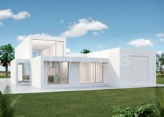 El diseño minimalista y blanco de esta casa cubo luxury no deja indiferente a nadie que busque una Villa de lujo en Javea. Diseño by inHAUS. Modern Exterior House Designs, Modern House Plans, Villas, Futuristic Architecture, Modular Homes, Cottage, Mansions, House Styles, Container Houses