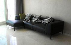 L-Shape Black Leather Sofa -- Max 2631