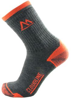 MADE IN USA.. CloudLine Premium Merino Wool Hiking Sock - Large Neon Orange -- Made in the USA