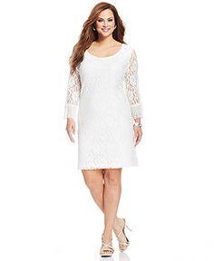 Style&co. Plus Size Three-Quarter-Sleeve Lace A-Line Dress - Plus Size Dresses - Plus Sizes - Macy's