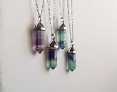 Rainbow Fluorite Crystal Point Necklace // Green by QueenofJackals
