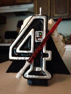 3 inch tall Star Wars/Darth Vader birthday by SweetPeaCandles
