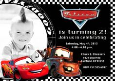 Disney Cars Lightning McQueen Mater Birthday Party Invitation Digital Or Printed