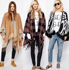 Women's Plaid Sweater Poncho Cape Coat Open Front Blanket Shawls and Wraps Casual Winter Outfits, Autumn Fashion Casual, Fall Outfits, Winter Fashion, Look Fashion, Urban Fashion, Trendy Fashion, Fashion Outfits, Poncho Outfit