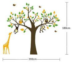 Popular WallStickersDecal Affe Giraffe u Eule spielen auf Baum Wandtattoo Wandaufkleber cm H