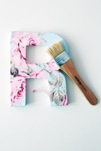 decor, floral diy, project, idea, crafti, floral letters diy, fabric cover, cover letter, diy letter