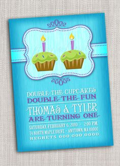 Twins First Birthday Party Invitation - Cupcake, twins, first birthday card. $12.50, via Etsy.
