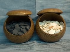 Vintage Japan Go Wooden Bowls - Slate & Seashell Stones Pull Along Toys, Japanese Bowls, Go Game, Wooden Bowls, Japanese Design, Kitchen Items, Vintage Toys, Cravings, Pagan