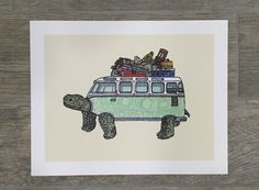 Hello! This is a listing for an 11x14 print of my art titled Slow Ride. The original artwork was made using pen and ink and watercolor. The outside print measures 11x14, the actual image is 9x12. You will have an even 1 inch white border all around which is perfect to frame as is or you may choose to have it matted too. The artwork is printed on a beautiful, acid-free, archival matte paper. This print will last you a lifetime without fading or yellowing. All prints are hand signed by me…