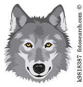 Clip Art of wolf symbol k12369489 - Search Clipart, Illustration Posters, Drawings, and EPS Vector Graphics Images  - k12369489.eps