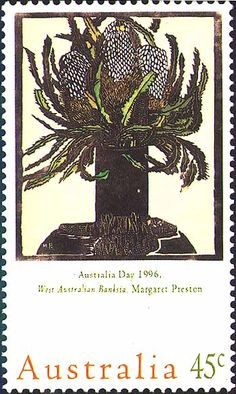 Acorn Banksia (c. 1929) by Margaret Preston, with 1996 stamp format designed by Susan Horvath