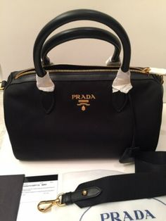 New and authentic Prada nylon (tessuto) and soft calf leather bag. -Inside  has Prada jacquard lining. -Authenticity card and dust bag included. 0581c18641
