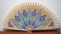 Marisol Caldito. Abanicos pintados a mano. Mandalas Hand Fan, Hand Painted, Hands, Home Decor, Hand Fans, Painted Fan, Flamingo, Objects, Accessories