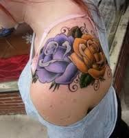 Image result for ladies blue and yellow rose tattoo pictures