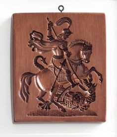 "'Saint George and Dragon' springerle mold. 2.625"" x 5.625"",  $41.50"