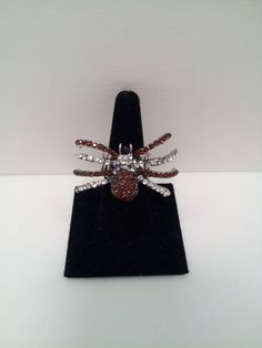 Spider ring with brown & silver stones, silver band.  Stretch ring (one size fits most)