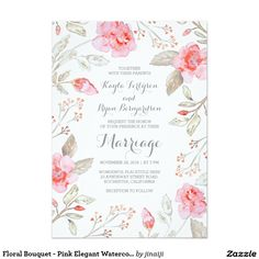 Floral Bouquet - Pink Elegant Watercolor Wedding