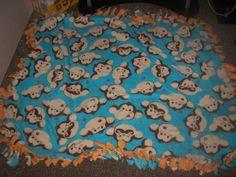 Monkey No Sew Tie Blanket by CraftyGirlShope on Etsy