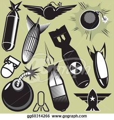 bomb missile drawings | ... art collection of various bomb icons and art. Stock Clipart gg60314266