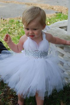 White Pagent Tulle Dress with Diamond Gem by HammasHeavenlyGifts, $50.00