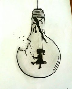 "bleistiftzeichnung my_drawing. - ""Black and White bulb"", Girl Drawing Sketches, Doodle Art Drawing, Dark Art Drawings, Girly Drawings, Fish Drawings, Pencil Art Drawings, Cool Sketches, Illustration Sketches, Drawing Ideas"