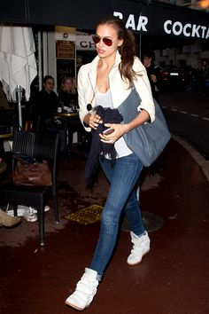 El street style de Cannes 2012 Irina Shayk # wedges/sneakers for casual travel look GG's tiny times
