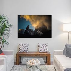 """World Menagerie Aguja Poincenot & Cerro Fitz Roy, Patagonia, Argentina Photographic Print on Wrapped Canvas Size: 18"""" H x 26"""" W x 0.75"""" D"""
