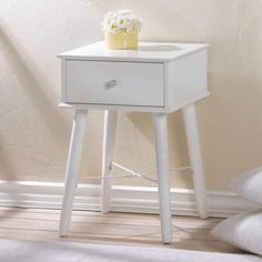 This fabulous accent table is white lacquer and features long legs, a single drawer, and classic style that complements any room. Perfect next to a bed or sofa or in an entryway. Weight pounds inches square x inches tall MDF wood Side Tables For Sale, White Side Tables, Modern Side Table, End Tables, Chair Side Table, Mdf Wood, Kid Beds, Home Furniture, Long Legs