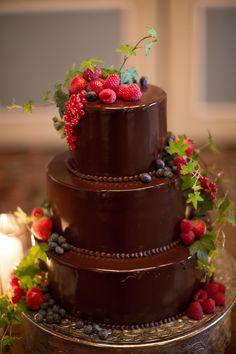 Yummy. ...chocolate wedding cake