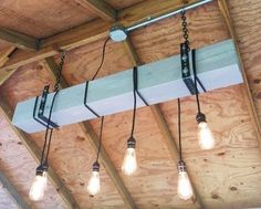 Gray-Blue Natural Wood Beam Chandelier