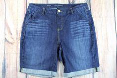 Lane Bryant Bermuda Dark Wash Blue Jean Denim Cuffed Hem Shorts Plus SZ 16 AC #LaneBryant #Denim