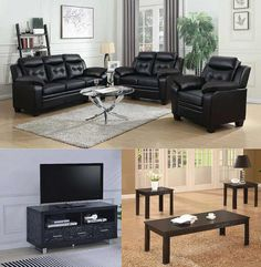 Add style to your #LivingRoom with one of Dallas Furniture Online's Package Deals like the one pictured here! Featuring the black leatherette Finley Sofa & Loveseat by Coaster, 2 end tables with matching coffee table, and a television stand, Combo 3 is only $935. Want to see more? Be sure to click on the pic above to see other options! #furniture #decorating #sofas #couches #loveseats #TVstands #CoffeeTables #DiscountFurniture #DecorateForLess #DFW #Dallas #FortWorth Discount Furniture, Online Furniture, Loveseat Sofa, Couches, Sofas, Television Stands, Package Deal, Outdoor Furniture Sets, Outdoor Decor