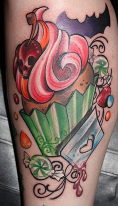 razor , cupcake , bats , cupcakes , girlie , color tattoo | Kristel Oreto -Tattoo Artist- Philadelphia, PA