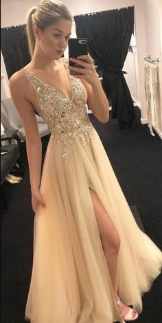 bb1c40563796 Deep V Neck Tulle Prom Dresses with Beaded Champagne Prom Dresses