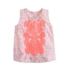 Girls' sleeveless embroidered top in clover print